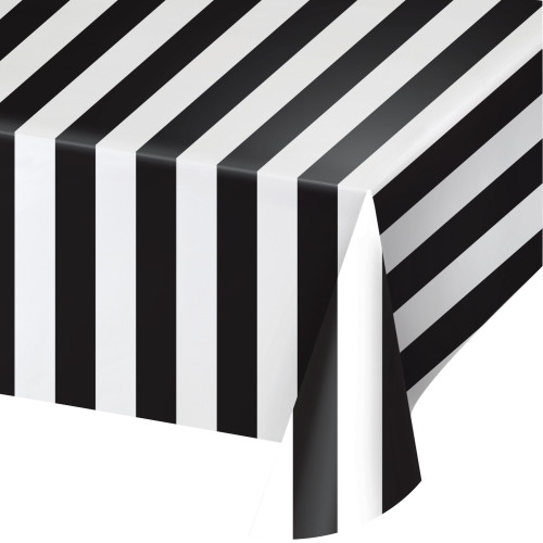 Black and White Stripes Plastic Tablecover