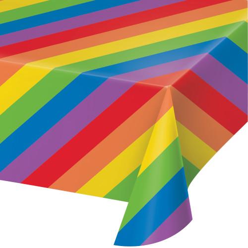 Rainbow Stripes Plastic Tablecover