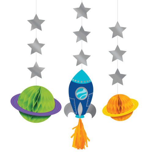 Space Party Foil Hanging Cutouts with Honeycomb and Tassel