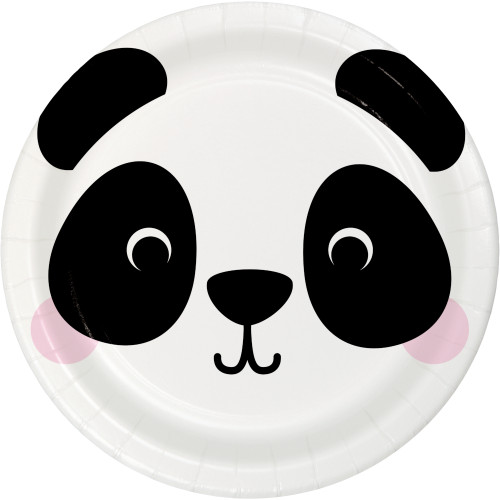 "Animal Faces Panda 7"" Lunch Plates"