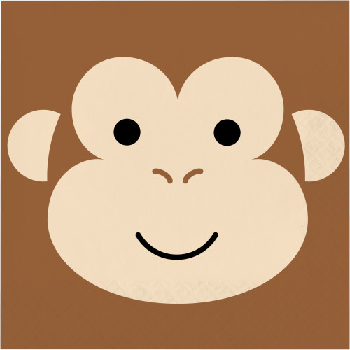 Animal Faces Monkey Lunch Napkins