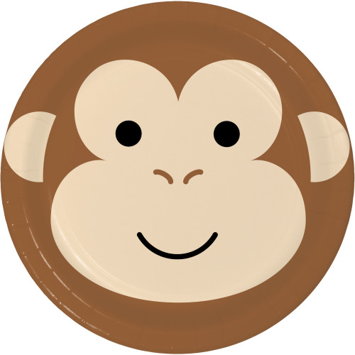 "Animal Faces Monkey 9"" Dinner Plates"