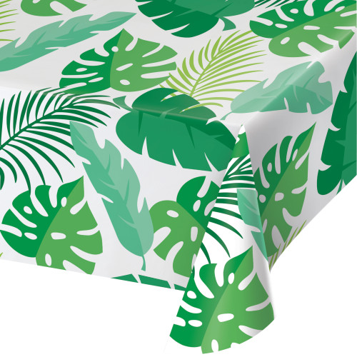 Animal Faces Palm Leaves Plastic Tablecover