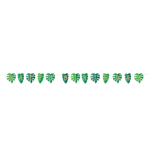 Animal Faces Palm Leaves Happy Birthday Shaped Ribbon Banner