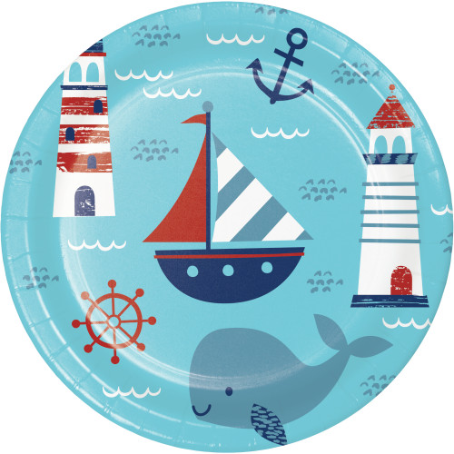 "Nautical Baby 9"" Dinner Plates"