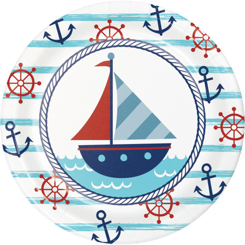 "Nautical Baby 7"" Lunch Plates"