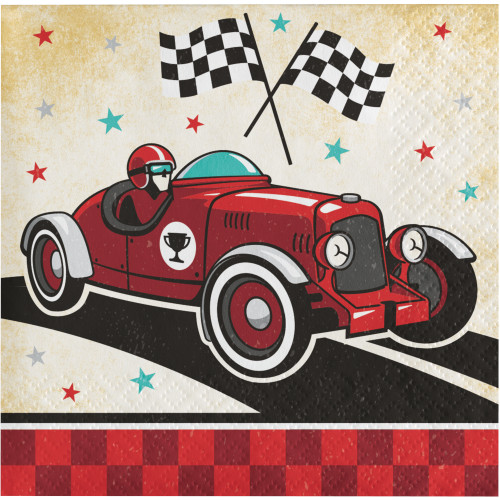 Vintage Race Car Beverage Napkins
