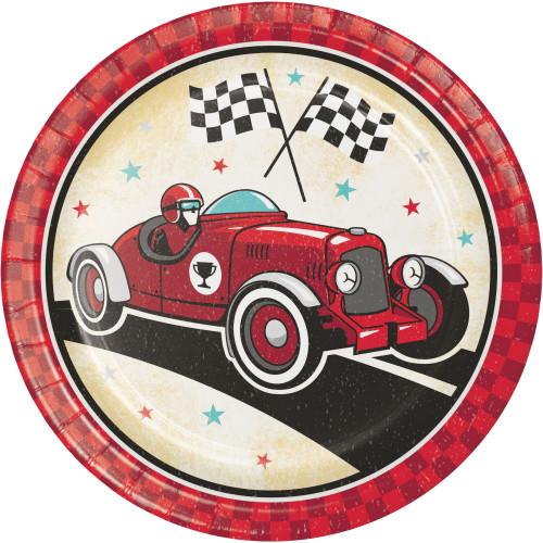 "Vintage Race Car 9"" Dinner Plates"