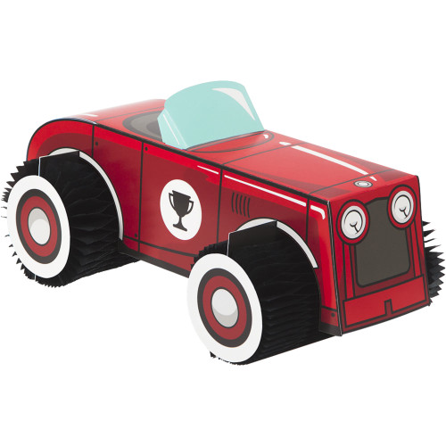 Vintage Race Car 3D Honeycomb Centerpiece