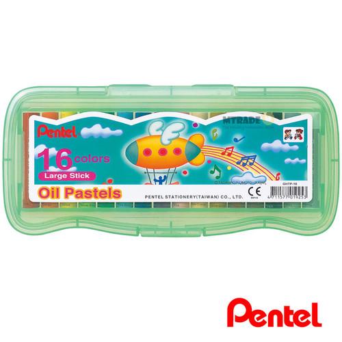 Pentel Oil Pastels Large Stick [16 Colors/Green Box] GHTP-16