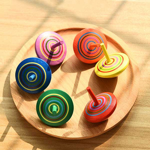 Colorful Wooden Spinning Tops 30pcs/pack