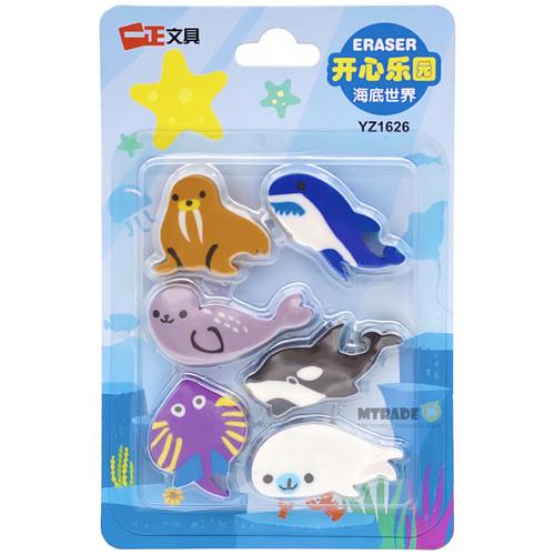 Sea Animal Erasers 6pcs/pack