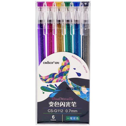 CHOSCH Dual Metallic Gel Pen 0.7mm 6 Color/Set CS-G112