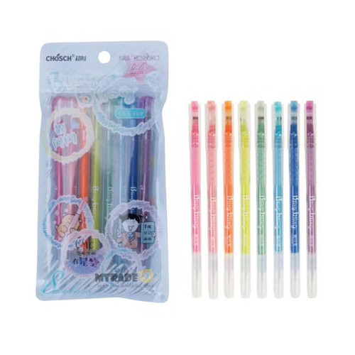 CHOSCH Glitter Pen 0.6mm 8 Color/Set CS-G127