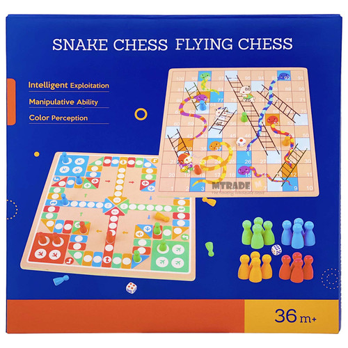 2 in 1 Wooden Snakes & Ladder and Flying LUDO Chess