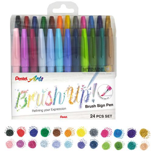 Pentel Touch Brush Sign Pen 24-Color/Set SES15C-24ST1