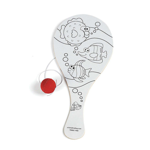 Color Your Own Tropical Paddle Ball 1pcs