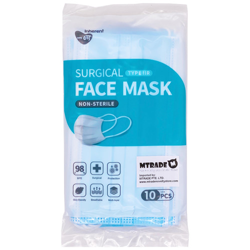 Type IIR 3-Ply Medical Surgical Disposable Face Mask 10pcs/box BFE 98