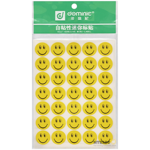 16mm Smile Face Self Adhesive Circle Label Sticker 10 sheets/pack