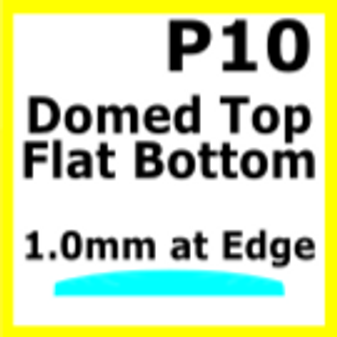 Glass, Flat Bottom Domed, 1.0mm at the Edge (P10)