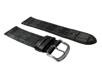 Strap, Crocodile Print with Stitching, Black