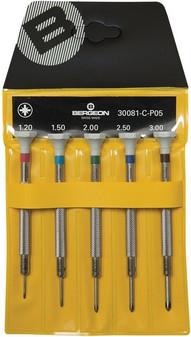 Bergeon 30081-C-P05 - Set of 5 Screwdrivers (Crosshead)