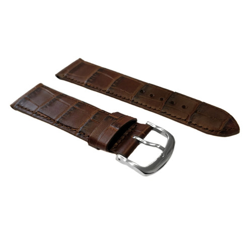 Strap, Crocodile Print with Stitching, Brown
