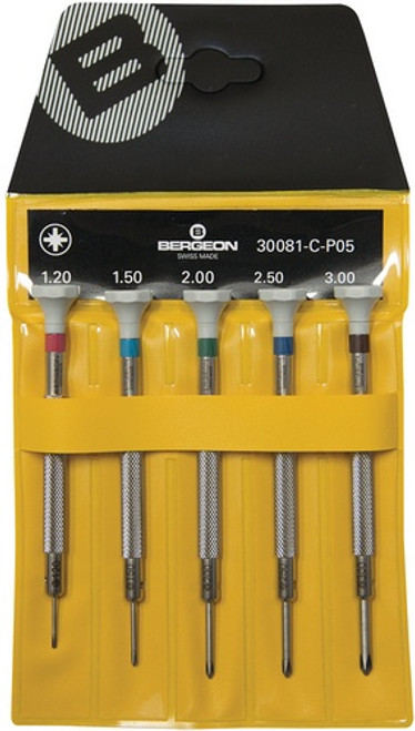 Bergeon 300081-C-P05 - Set of 5 Screwdrivers (Crosshead)