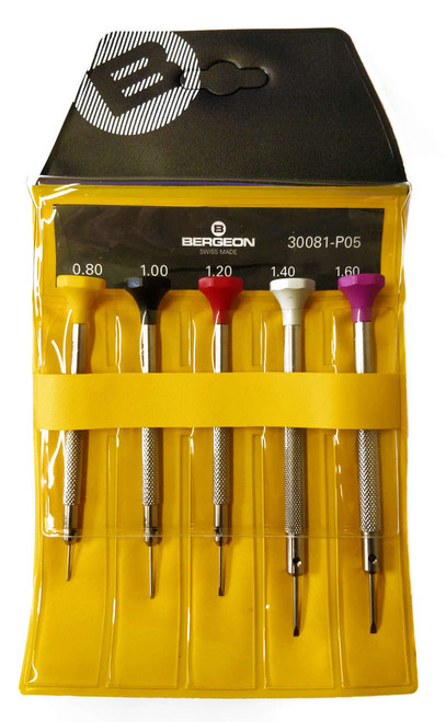 Bergeon 300081-P05 - Set of 5 Screwdrivers (Flathead)