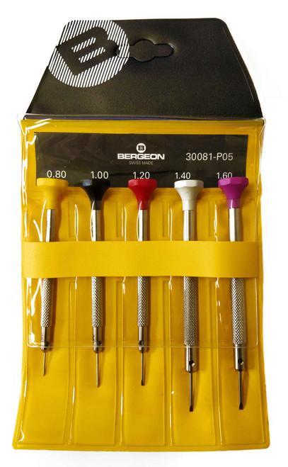 Bergeon 300081-P05 - Set of 5 Screwdrivers (Flathead)