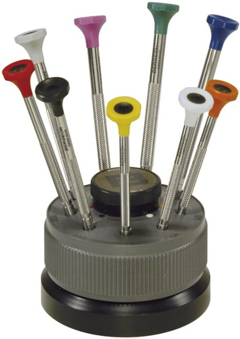 Screwdrivers, Set of 9 Screwdrivers on Rotating Stand (Bergeon 30081-S09)