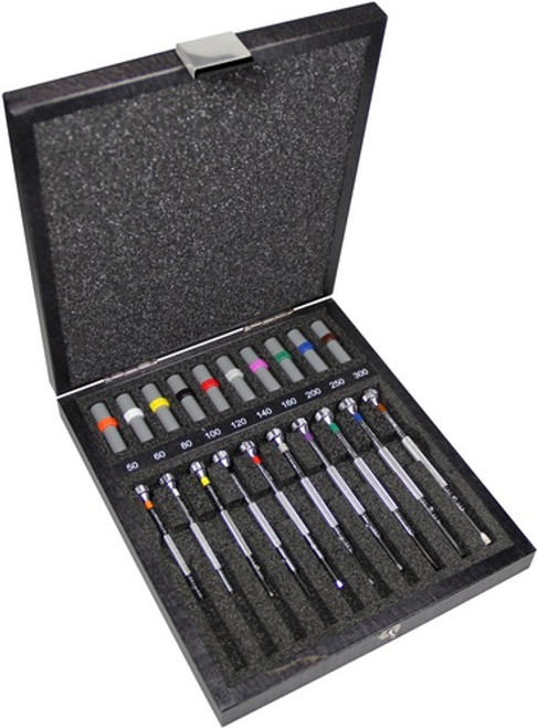 Bergeon 30080-A10 - Set of 10 Chromium Plated Screwdrivers in Wooden Box (0.50-3.00)