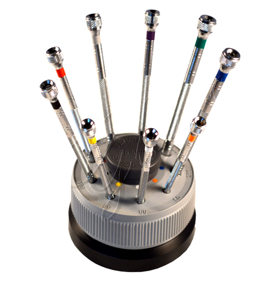 Bergeon 5970 - Set of 9 Screwdrivers on Rotating Stand