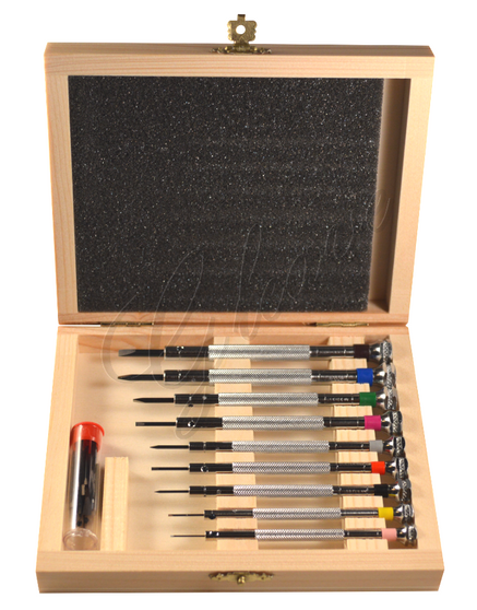 French Screwdrivers - Set of 9 in a Wooden Box