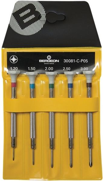Bergeon 300081-C-P05 - Set of 5 Screwdrivers (Crosshead)