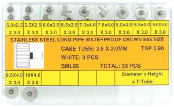Assortment, Large Waterproof Crowns Steel
