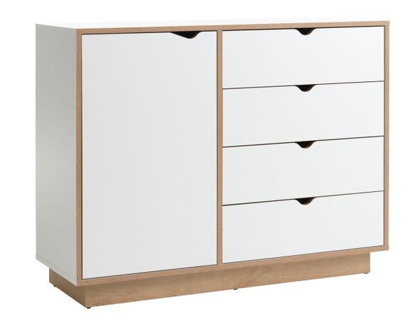 4 drawer 1 door chest Mammen white/oak