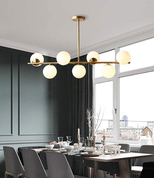 Modern Gold Chandeliers Brushed Brass Ceiling Pendant Light Globe