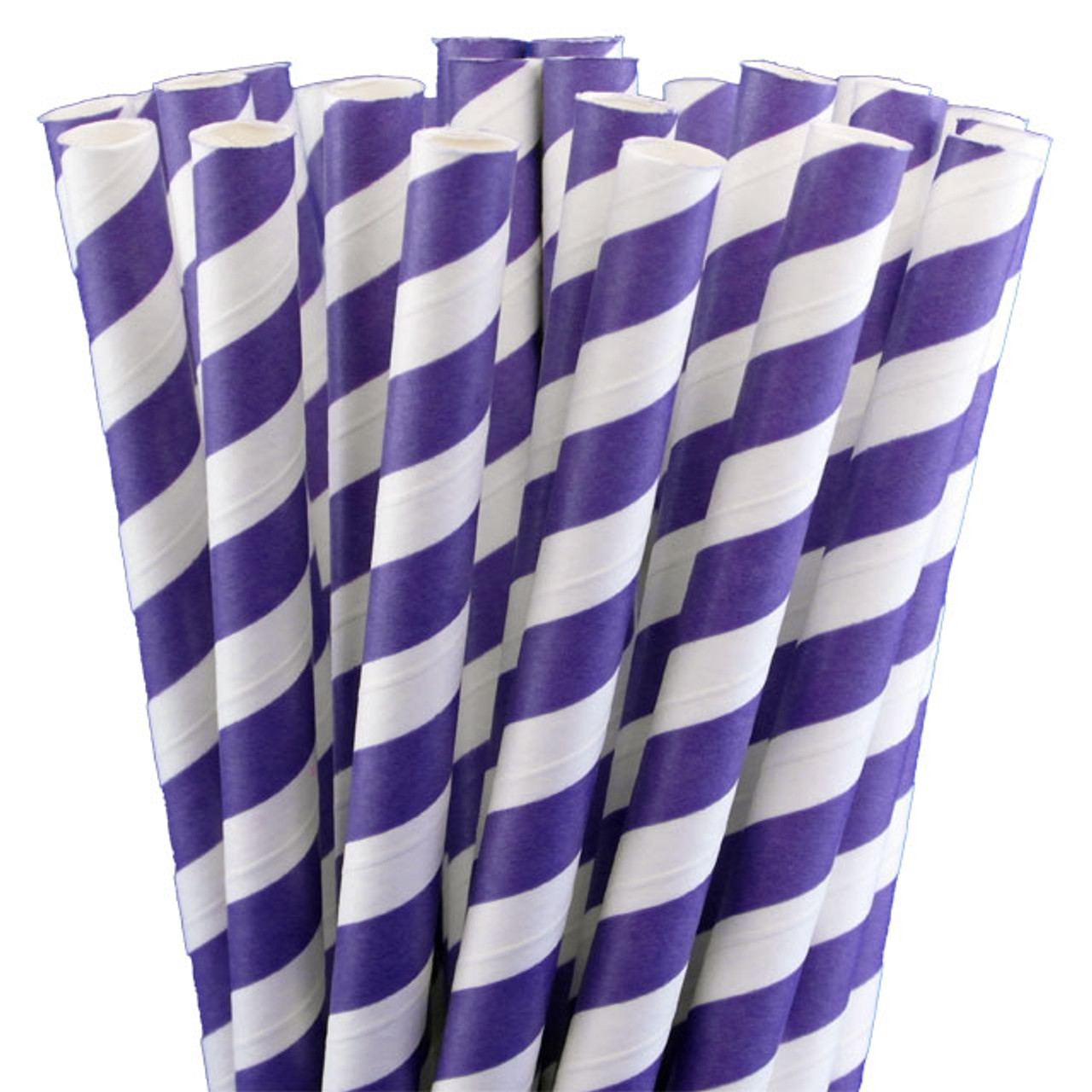 "7.75"" Milkshake Purple Striped Paper Straws"