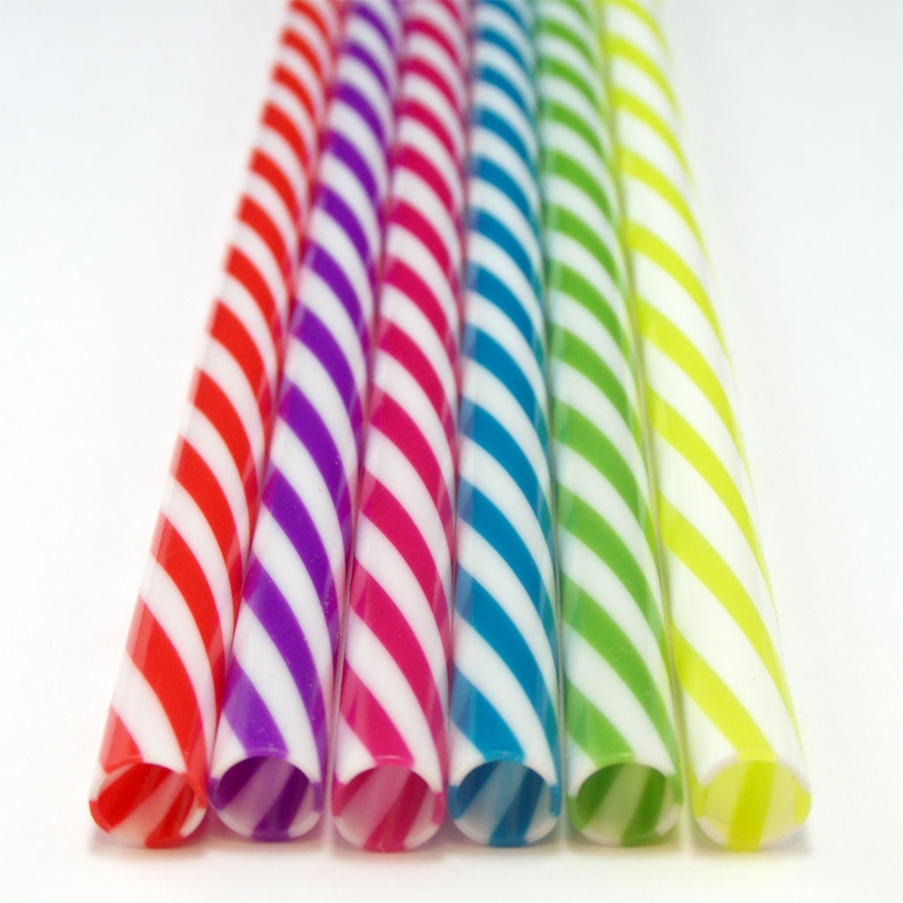 Reusable Striped Plastic Straw - 9 inch