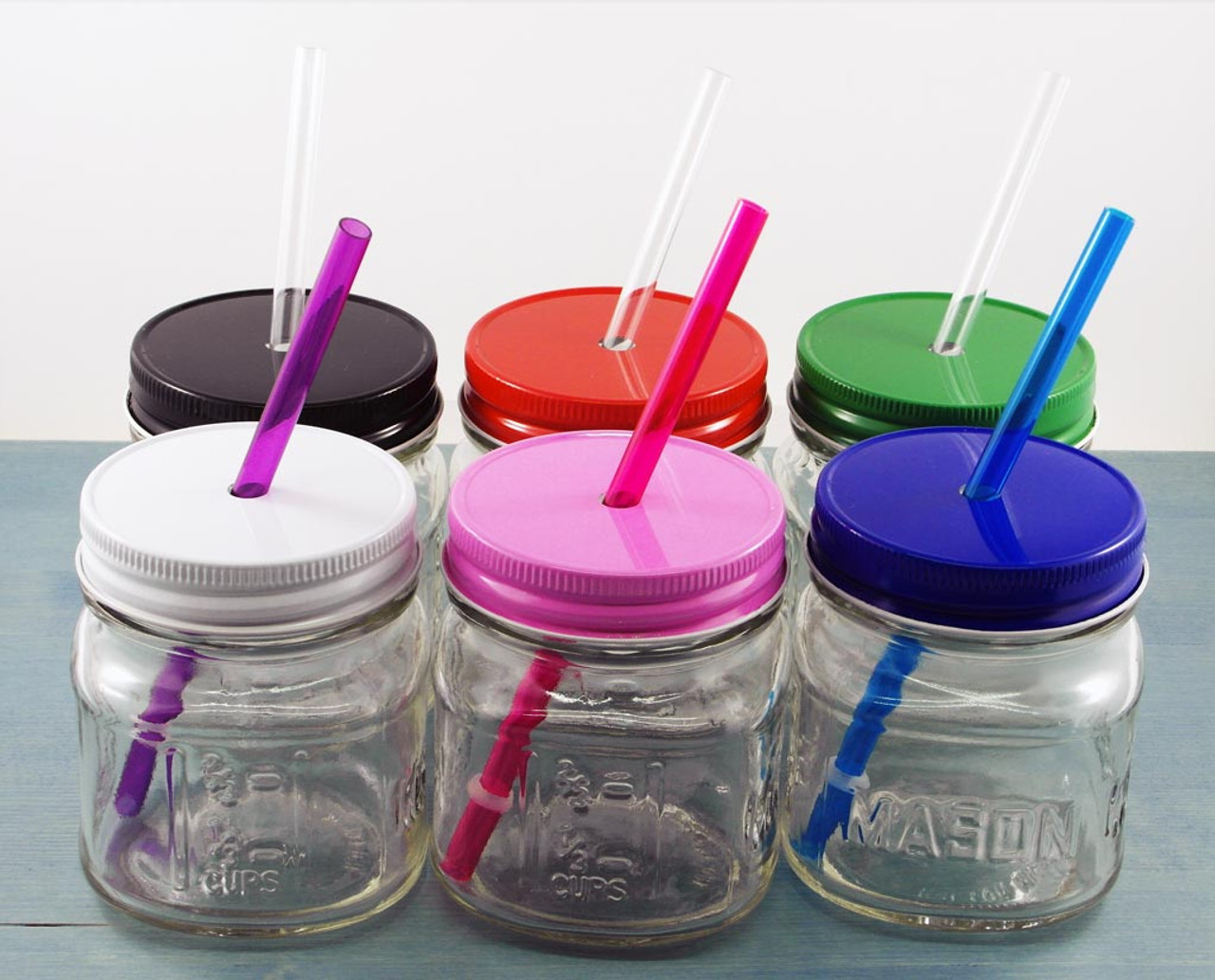 Reusable Straws with 8oz square mason jars with metal tumbler lids