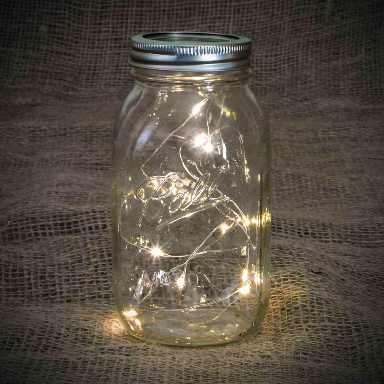 32oz Mason Jar with Warm White Fairy Lights