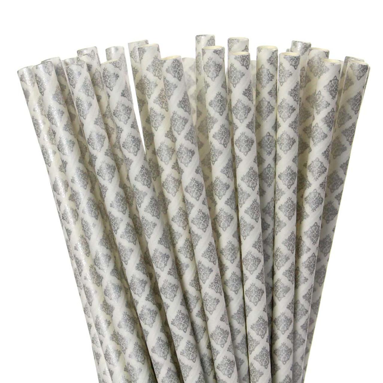 Silver Damask Paper Straws