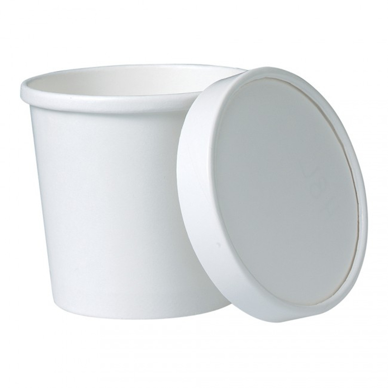 White Paper Food Container with Paper Lid - 12oz