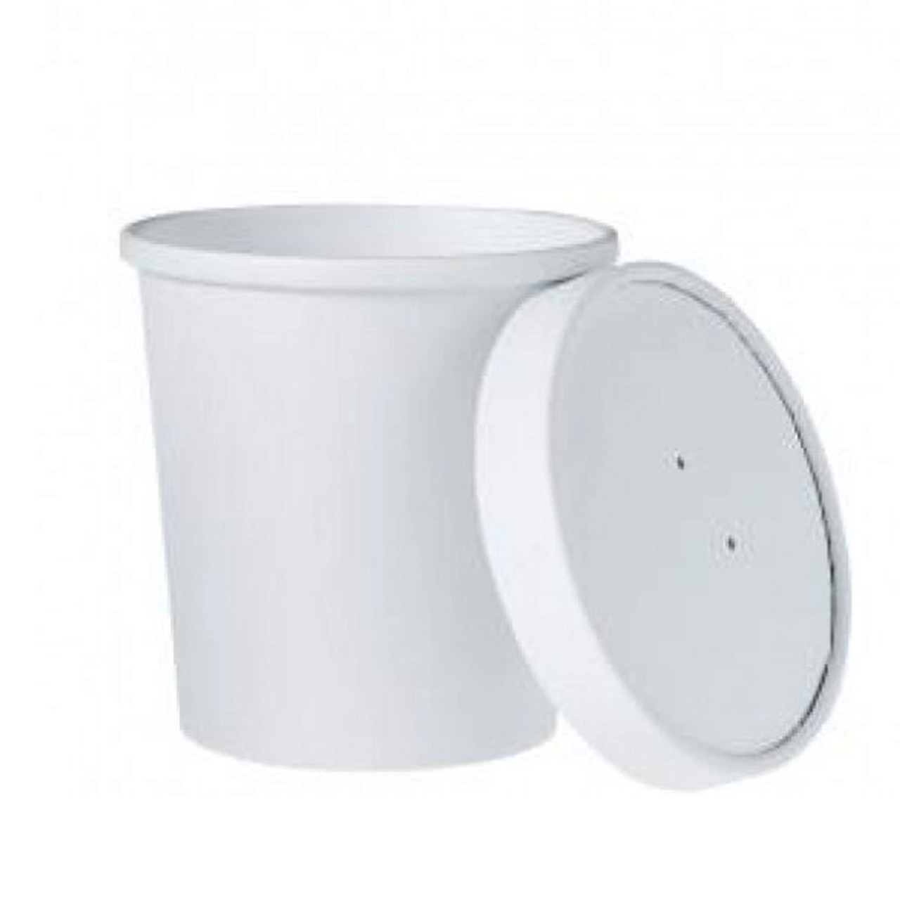 White Ice Cream / Soup Container with Paper Lid - 16oz - Case of 250