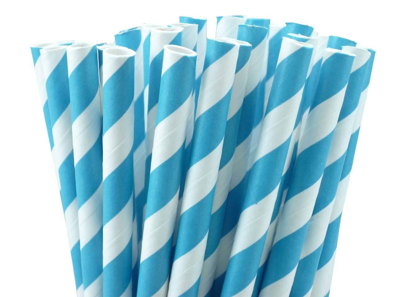 """5.5"""" Cocktail Turquoise Blue Paper Straws"""