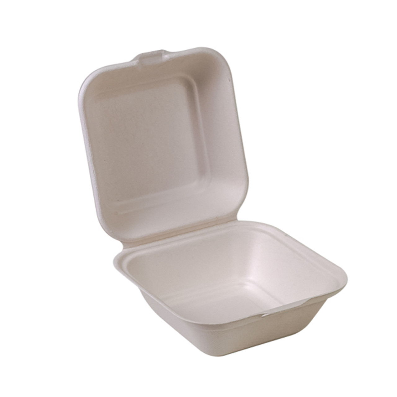 """Compostable Sugarcane Clamshell - 5"""" x 5"""" - Case of 500"""