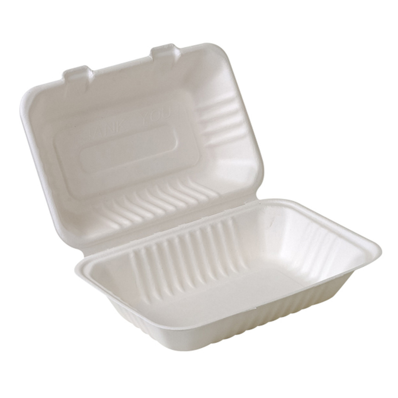 "Compostable Sugarcane Clamshell - 9"" x 6"" - Case of 200"