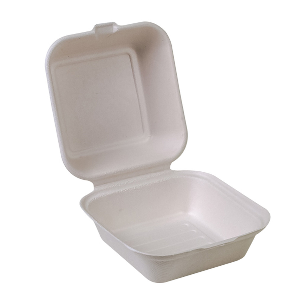 "Compostable Sugarcane Clamshell - 6"" x 6"" - Case of 500"