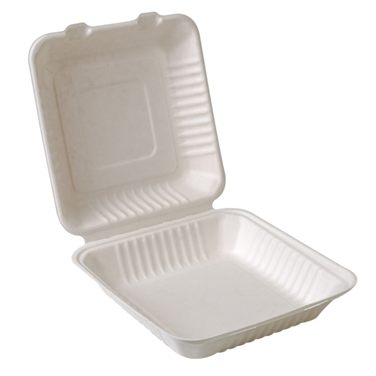 """Compostable Sugarcane Clamshell - 9"""" x 9"""" - Case of 200"""
